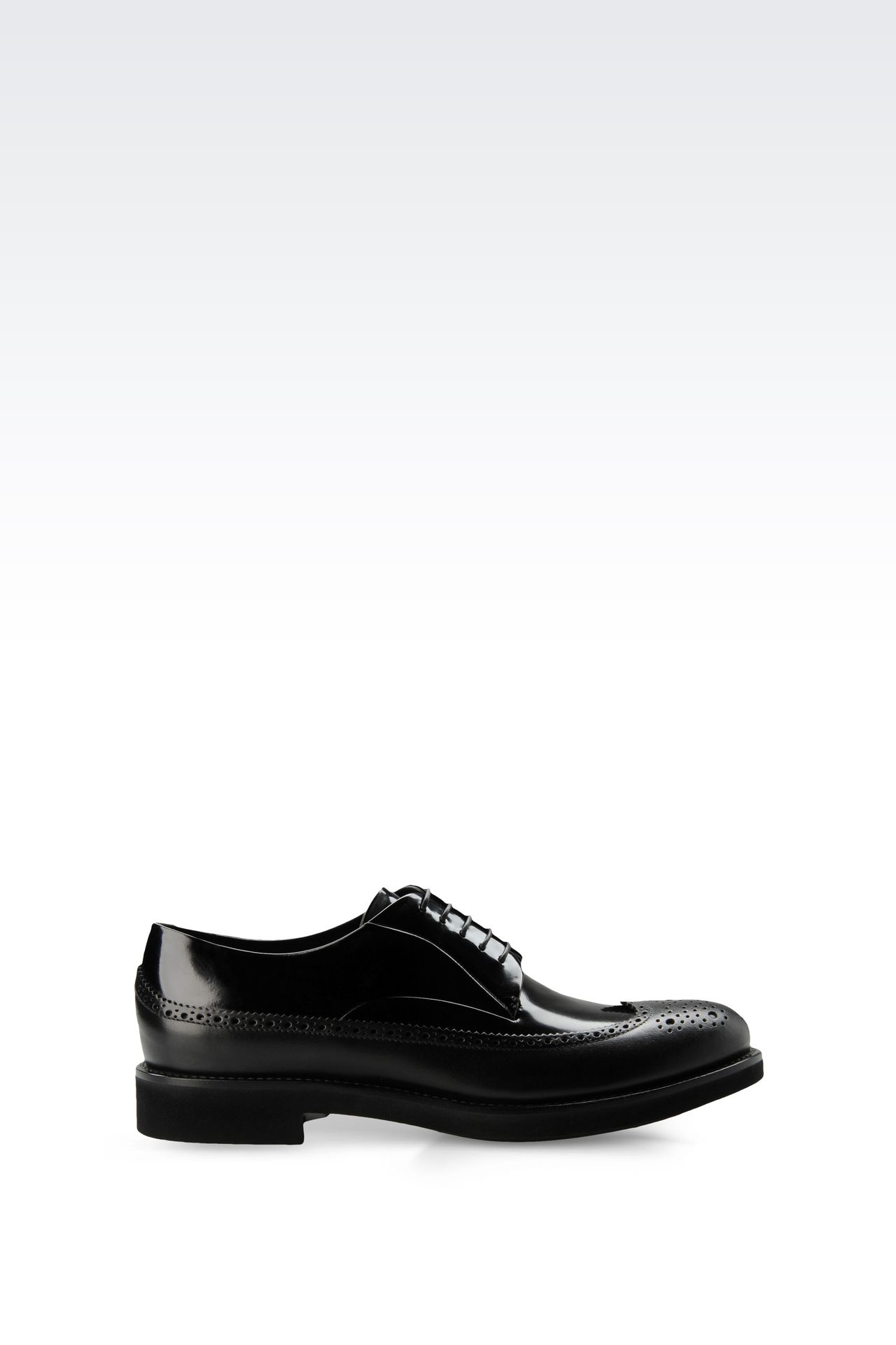 LEATHER DERBY WITH BROGUING: Lace-up shoes Men by Armani - 0