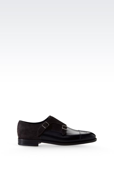 MONKSTRAP IN PRINTED LEATHER AND SUEDE: Moccasins Men by Armani - 1