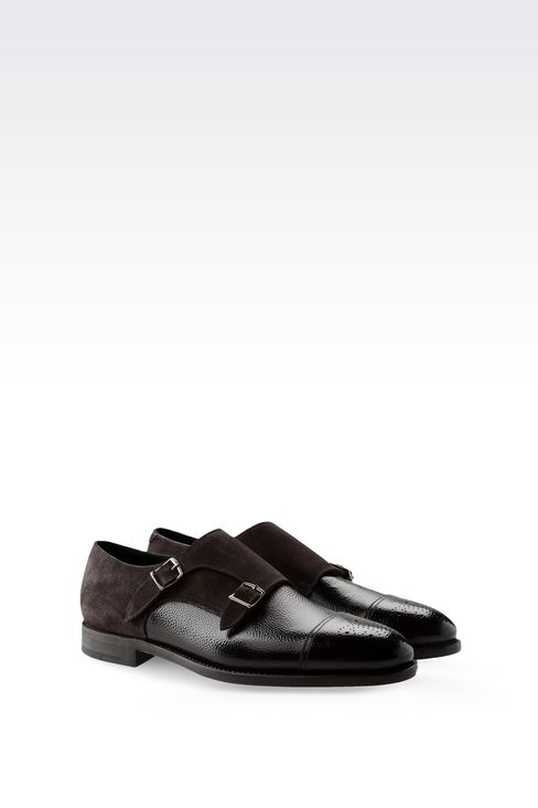 MONKSTRAP IN PRINTED LEATHER AND SUEDE: Moccasins Men by Armani - 2