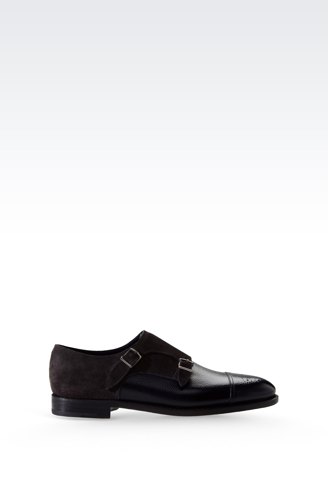 MONKSTRAP IN PRINTED LEATHER AND SUEDE: Moccasins Men by Armani - 0
