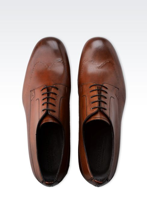 DERBY IN BRUSHED CALFSKIN: Lace-up shoes Men by Armani - 3