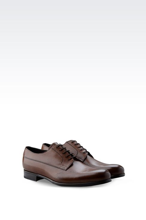 DERBY IN BRUSHED CALFSKIN: Lace-up shoes Men by Armani - 2