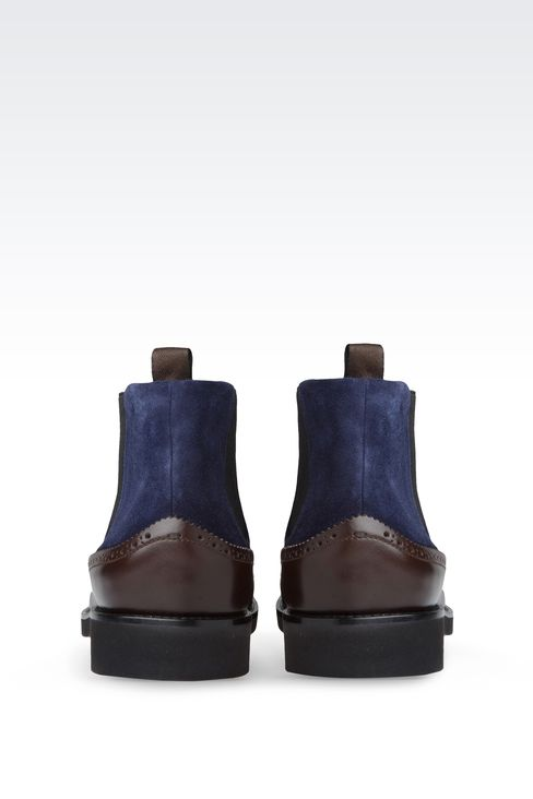 TWO-COLOR CHELSEA BOOT WITH BROGUING: Ankle boots Men by Armani - 3