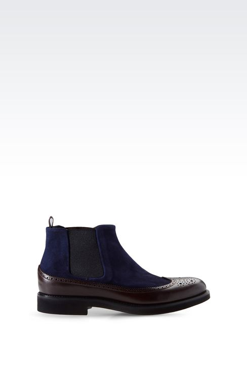 TWO-COLOR CHELSEA BOOT WITH BROGUING: Ankle boots Men by Armani - 1