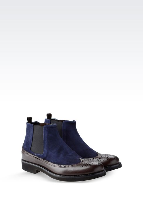 TWO-COLOR CHELSEA BOOT WITH BROGUING: Ankle boots Men by Armani - 2