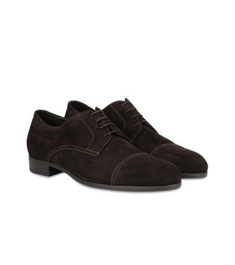 ERMENEGILDO ZEGNA: Laced shoes Pastel blue - Dark brown - Brown - 44547122FV