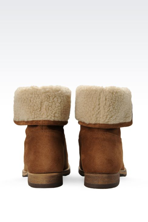 SUEDE AND ECO FUR ANKLE BOOTS : Ankle boots Women by Armani - 3