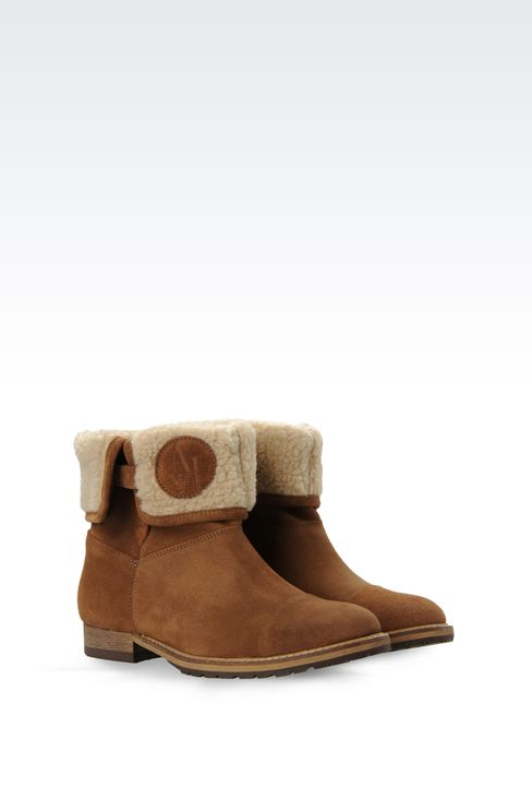 SUEDE AND ECO FUR ANKLE BOOTS : Ankle boots Women by Armani - 2