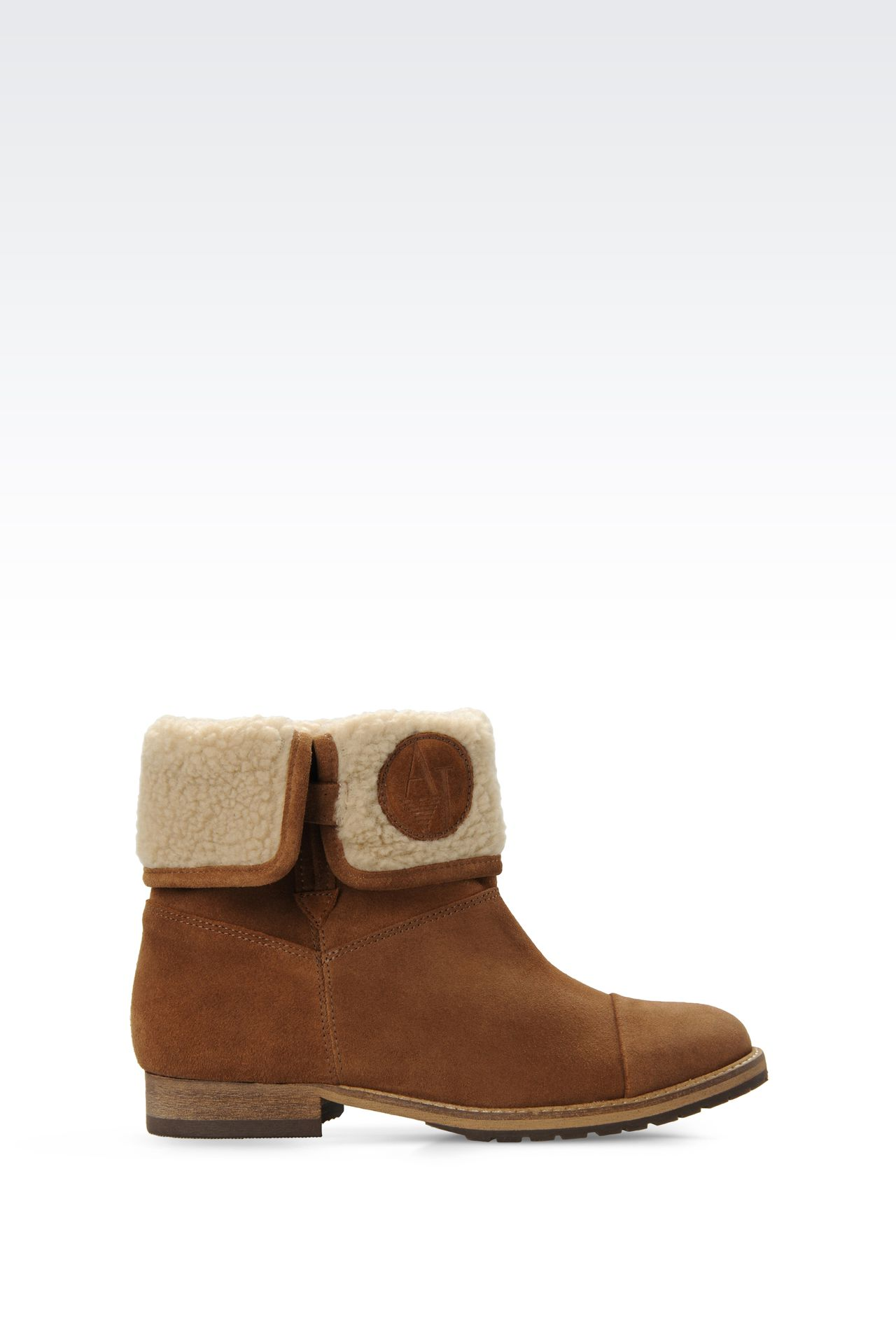 SUEDE AND ECO FUR ANKLE BOOTS : Ankle boots Women by Armani - 0