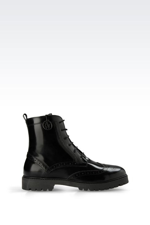 HEAVY DUTY LEATHER BROGUE SHOES: Combat boots Women by Armani - 1