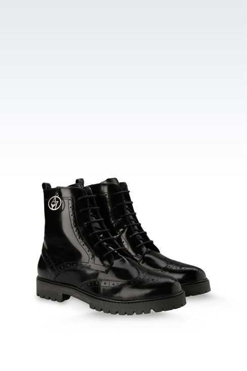 HEAVY DUTY LEATHER BROGUE SHOES: Combat boots Women by Armani - 2