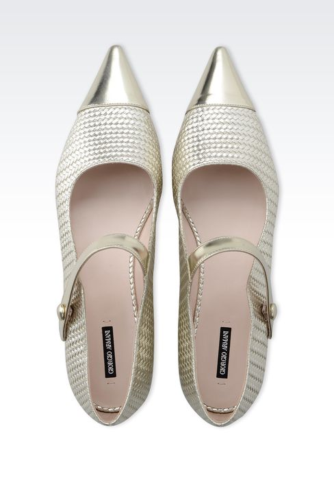 POINTED BALLET FLAT IN WOVEN LEATHER: Ballet flats Women by Armani - 3