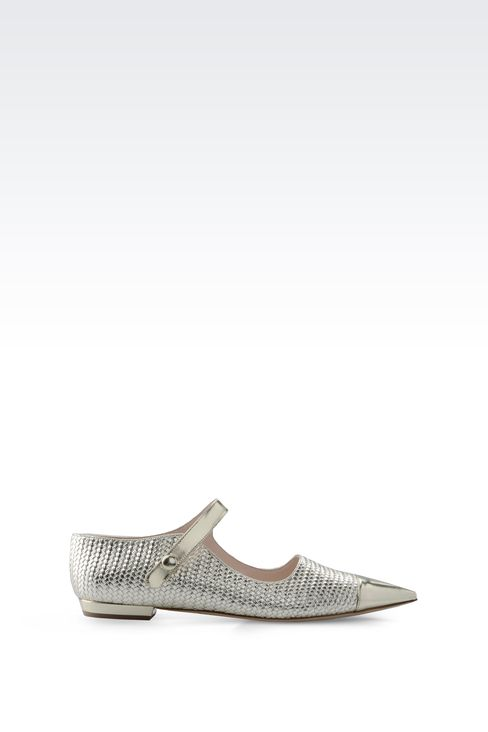 POINTED BALLET FLAT IN WOVEN LEATHER: Ballet flats Women by Armani - 1