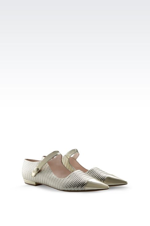 POINTED BALLET FLAT IN WOVEN LEATHER: Ballet flats Women by Armani - 2