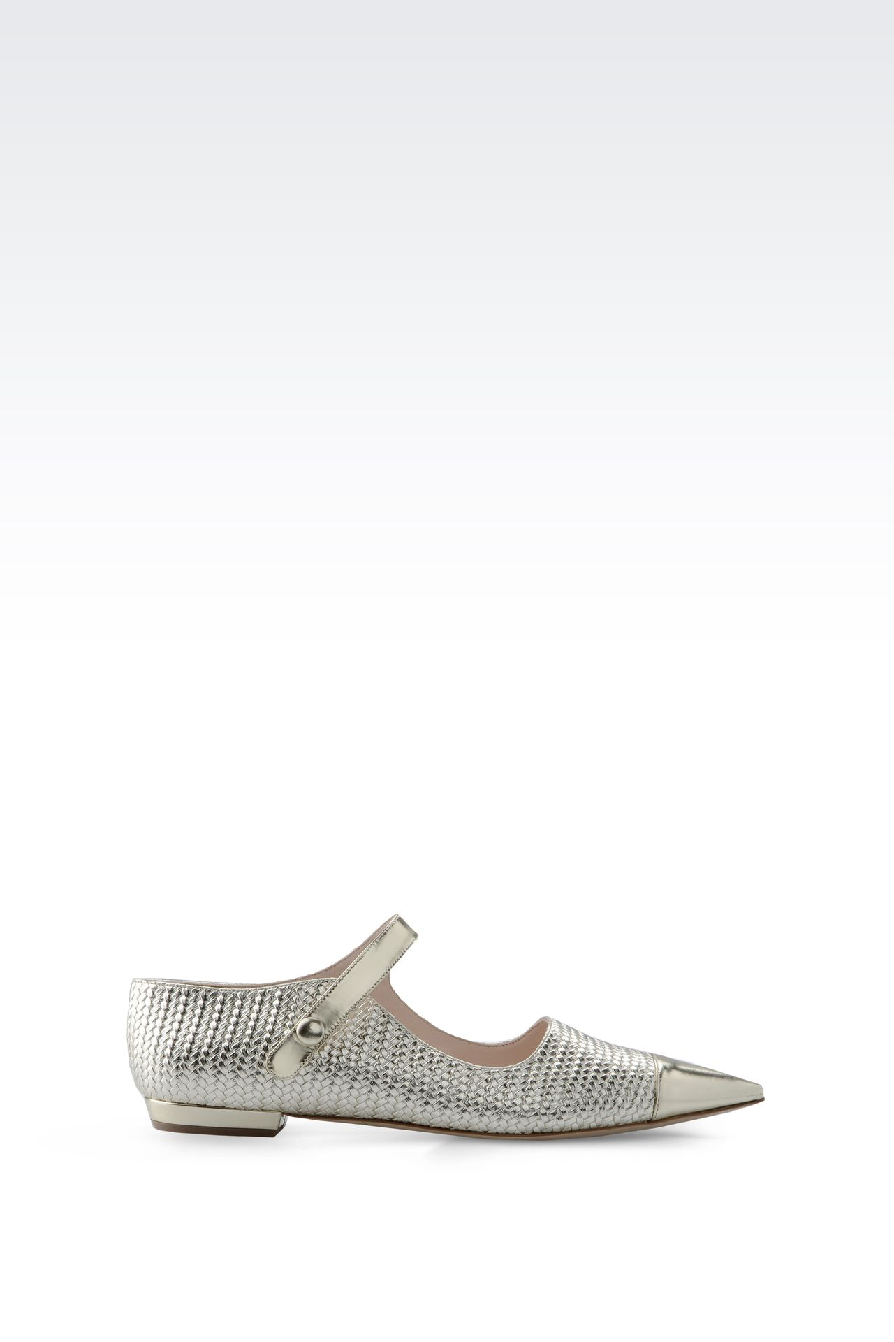 POINTED BALLET FLAT IN WOVEN LEATHER: Ballet flats Women by Armani - 0