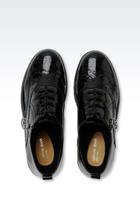 PATENT LEATHER EFFECT BROGUES WITH PENDANT: Lace-up shoes Women by Armani - 3
