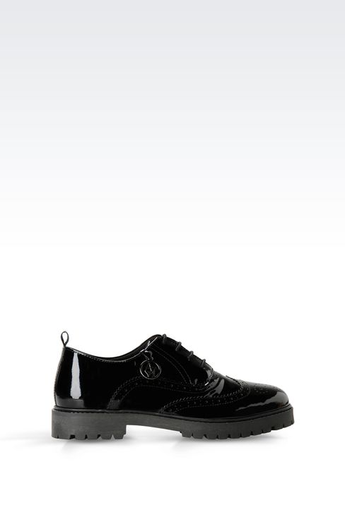 PATENT LEATHER EFFECT BROGUES WITH PENDANT: Lace-up shoes Women by Armani - 1