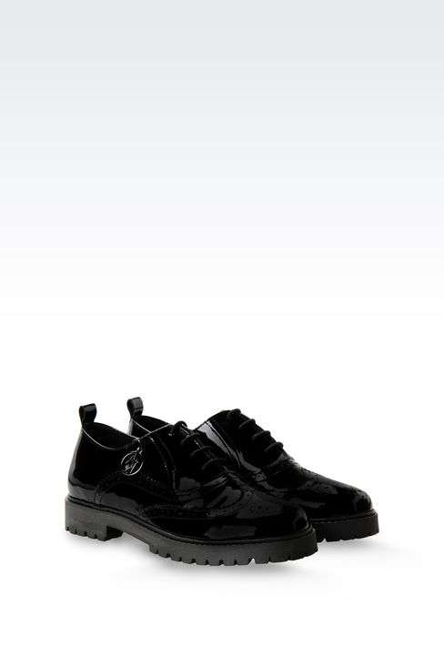 PATENT LEATHER EFFECT BROGUES WITH PENDANT: Lace-up shoes Women by Armani - 2
