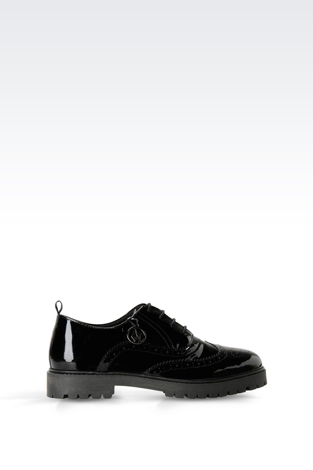 PATENT LEATHER EFFECT BROGUES WITH PENDANT: Lace-up shoes Women by Armani - 0