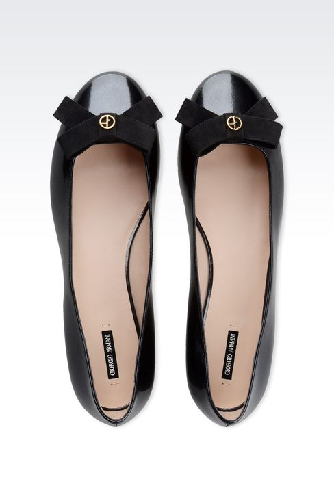 LEATHER BALLET FLAT WITH BOW: Ballet flats Women by Armani - 3
