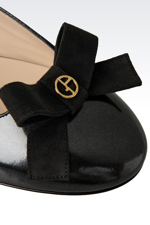 LEATHER BALLET FLAT WITH BOW: Ballet flats Women by Armani - 4