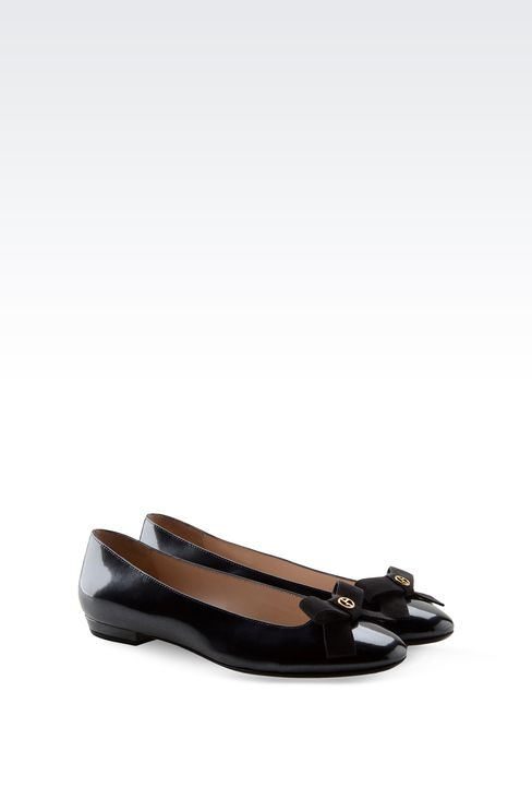 LEATHER BALLET FLAT WITH BOW: Ballet flats Women by Armani - 2
