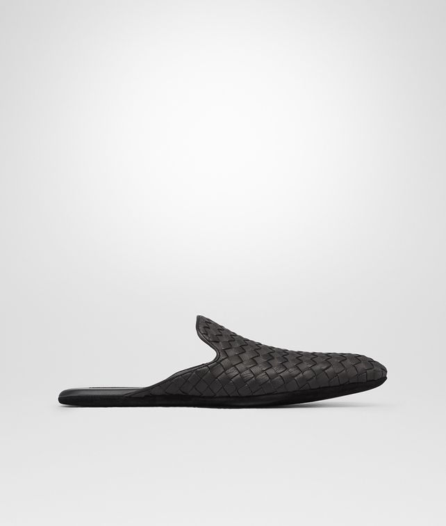 BOTTEGA VENETA Nero Intrecciato Foulard Calf Slipper Mocassin or Slipper U fp