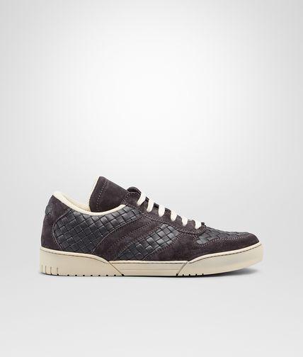 水墨灰牛皮编织运动鞋
