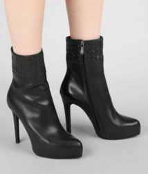 BOTTEGA VENETA - Shoes, Nero Intrecciato Calf Bootie