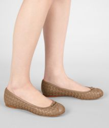 BOTTEGA VENETA - Shoes, Bronze Intrecciato Nappa Ballerina