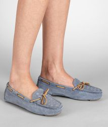 BOTTEGA VENETA - Shoes, Krim Intrecciato Suede Moccasin