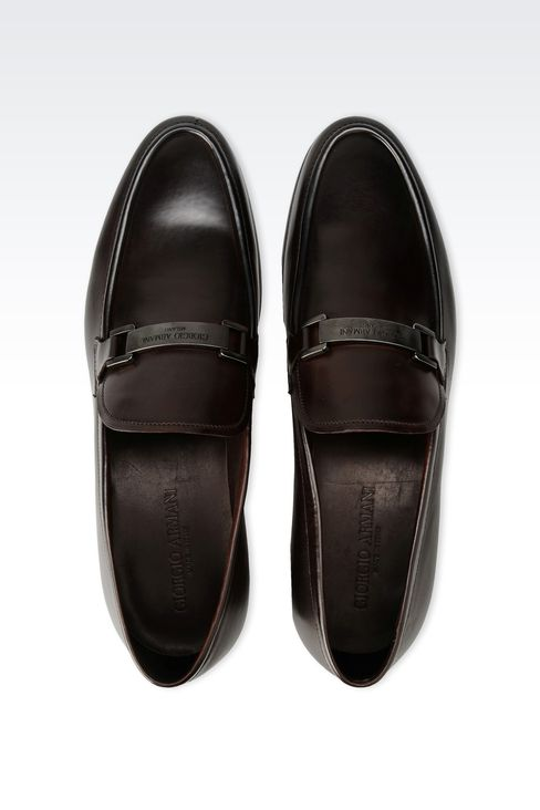 LEATHER LOAFER WITH METAL LOGO: Moccasins Men by Armani - 3