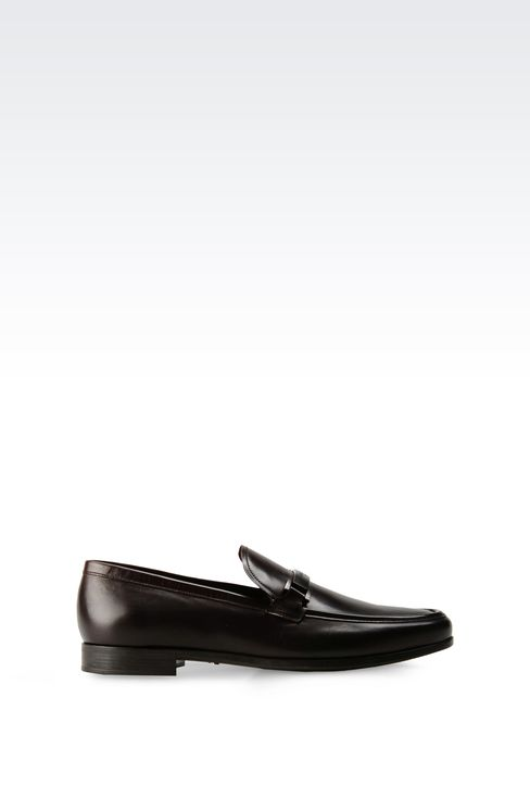 LEATHER LOAFER WITH METAL LOGO: Moccasins Men by Armani - 1
