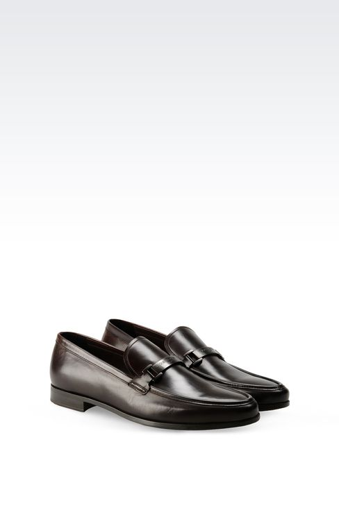 LEATHER LOAFER WITH METAL LOGO: Moccasins Men by Armani - 2