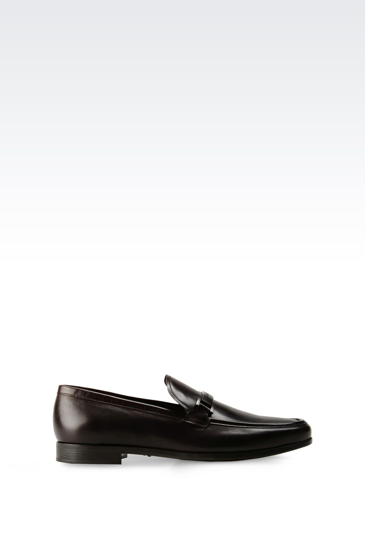 LEATHER LOAFER WITH METAL LOGO: Moccasins Men by Armani - 0