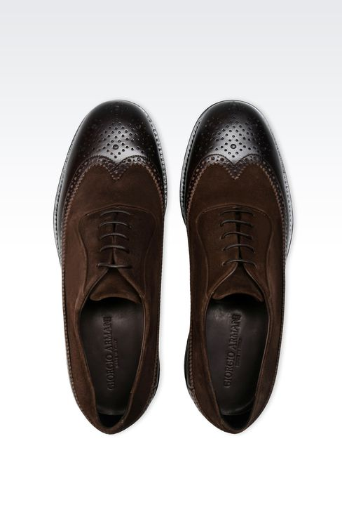 LACE-UP IN LEATHER AND SUEDE WITH BROGUING: Lace-up shoes Men by Armani - 3