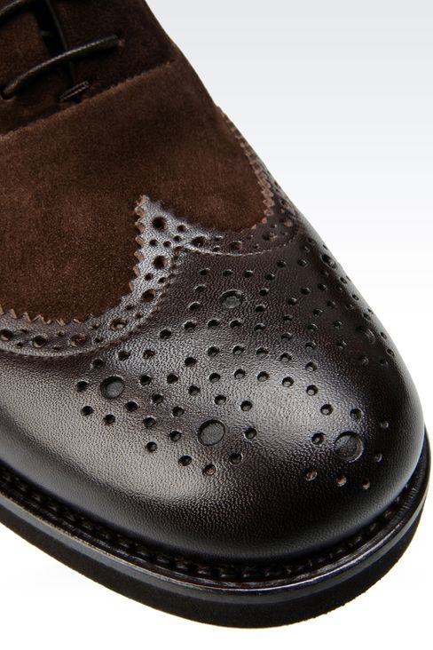 LACE-UP IN LEATHER AND SUEDE WITH BROGUING: Lace-up shoes Men by Armani - 4