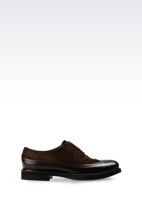 LACE-UP IN LEATHER AND SUEDE WITH BROGUING: Lace-up shoes Men by Armani - 1