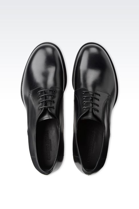 LEATHER DERBY WITH LEATHER SOLE: Lace-up shoes Men by Armani - 3