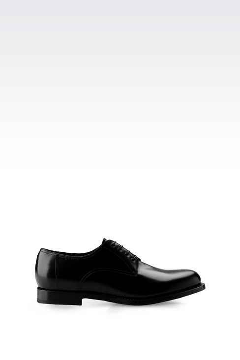 LEATHER DERBY WITH LEATHER SOLE: Lace-up shoes Men by Armani - 1