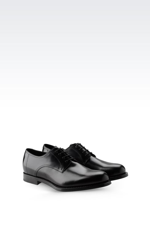 LEATHER DERBY WITH LEATHER SOLE: Lace-up shoes Men by Armani - 2