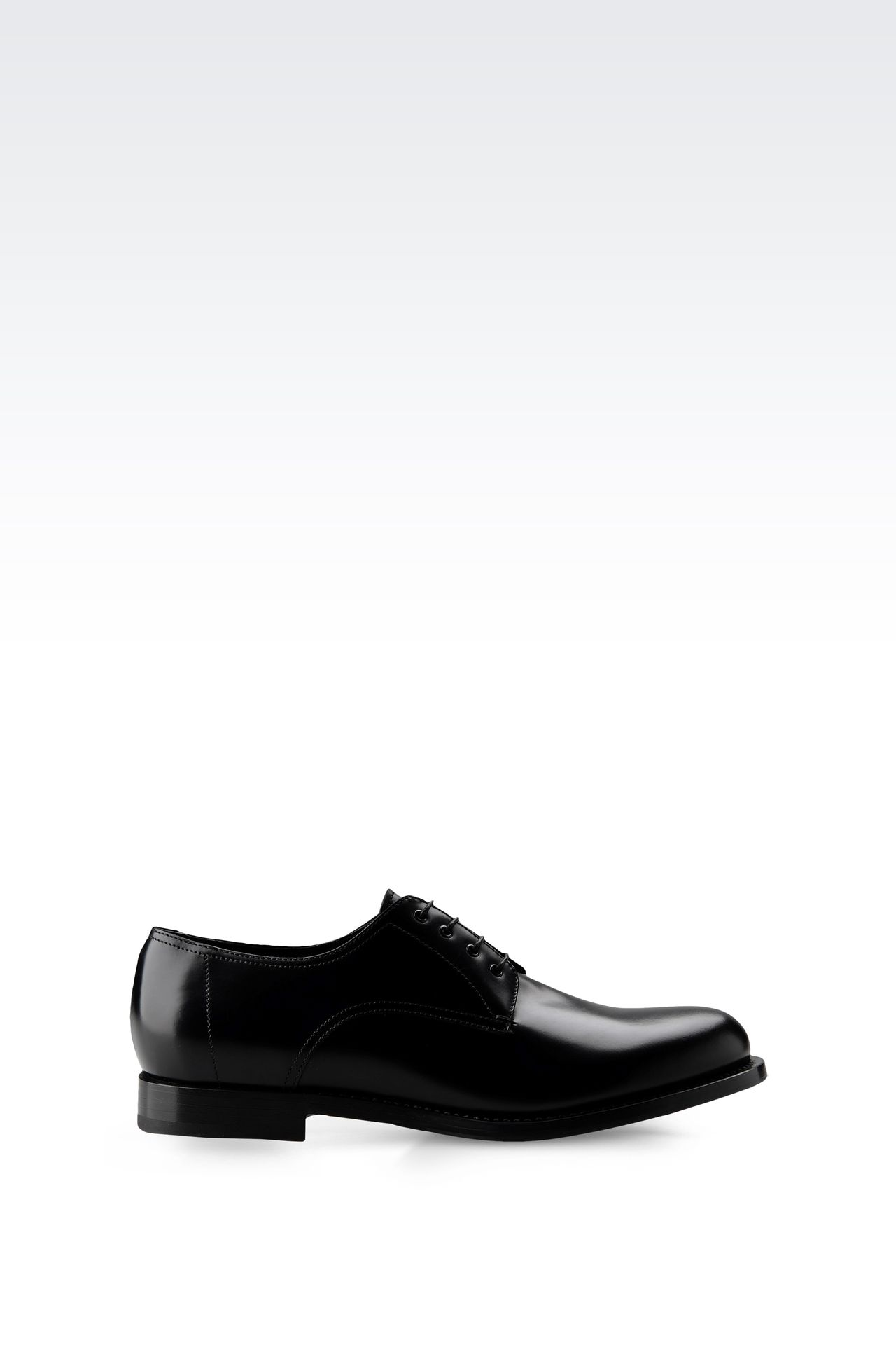 LEATHER DERBY WITH LEATHER SOLE: Lace-up shoes Men by Armani - 0