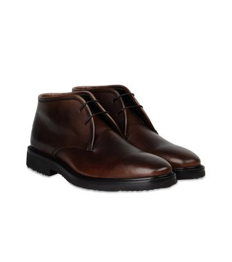 ERMENEGILDO ZEGNA: Laced Ankle Boot Pastel blue - Dark brown - Brown - 44552988DQ