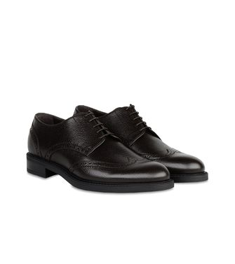 ERMENEGILDO ZEGNA: Laced shoes Pastel blue - Dark brown - Brown - 44552996QT