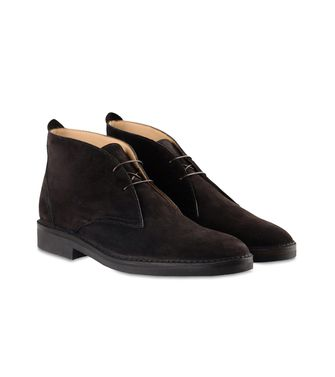 ERMENEGILDO ZEGNA: Laced Ankle Boot Dark brown - Blue - 44553017UI