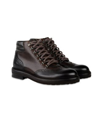 ERMENEGILDO ZEGNA: Laced Ankle Boot Dark brown - 44553018LI