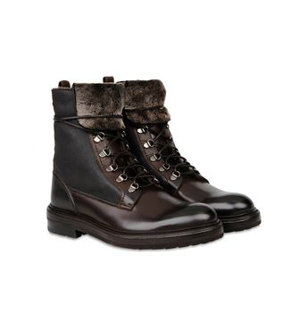 ERMENEGILDO ZEGNA: Laced Ankle Boot Brown - 44553019JB