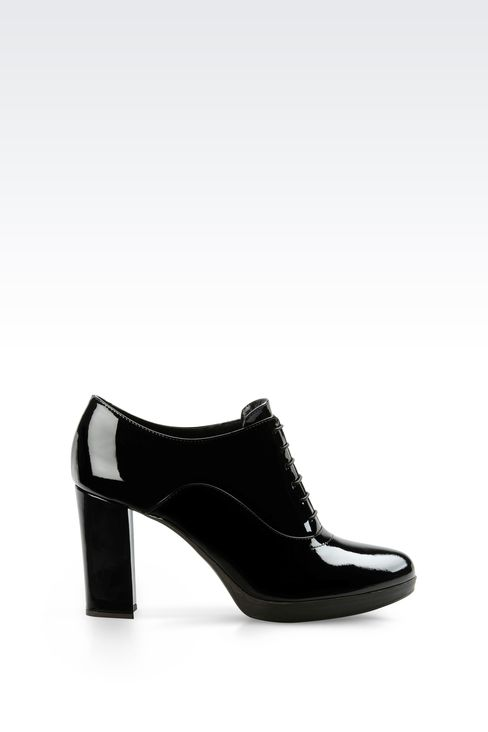 LEATHER OXFORD WITH PATENT EFFECT: Lace-up shoes Women by Armani - 1