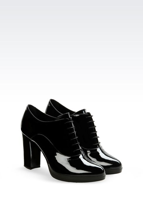LEATHER OXFORD WITH PATENT EFFECT: Lace-up shoes Women by Armani - 2