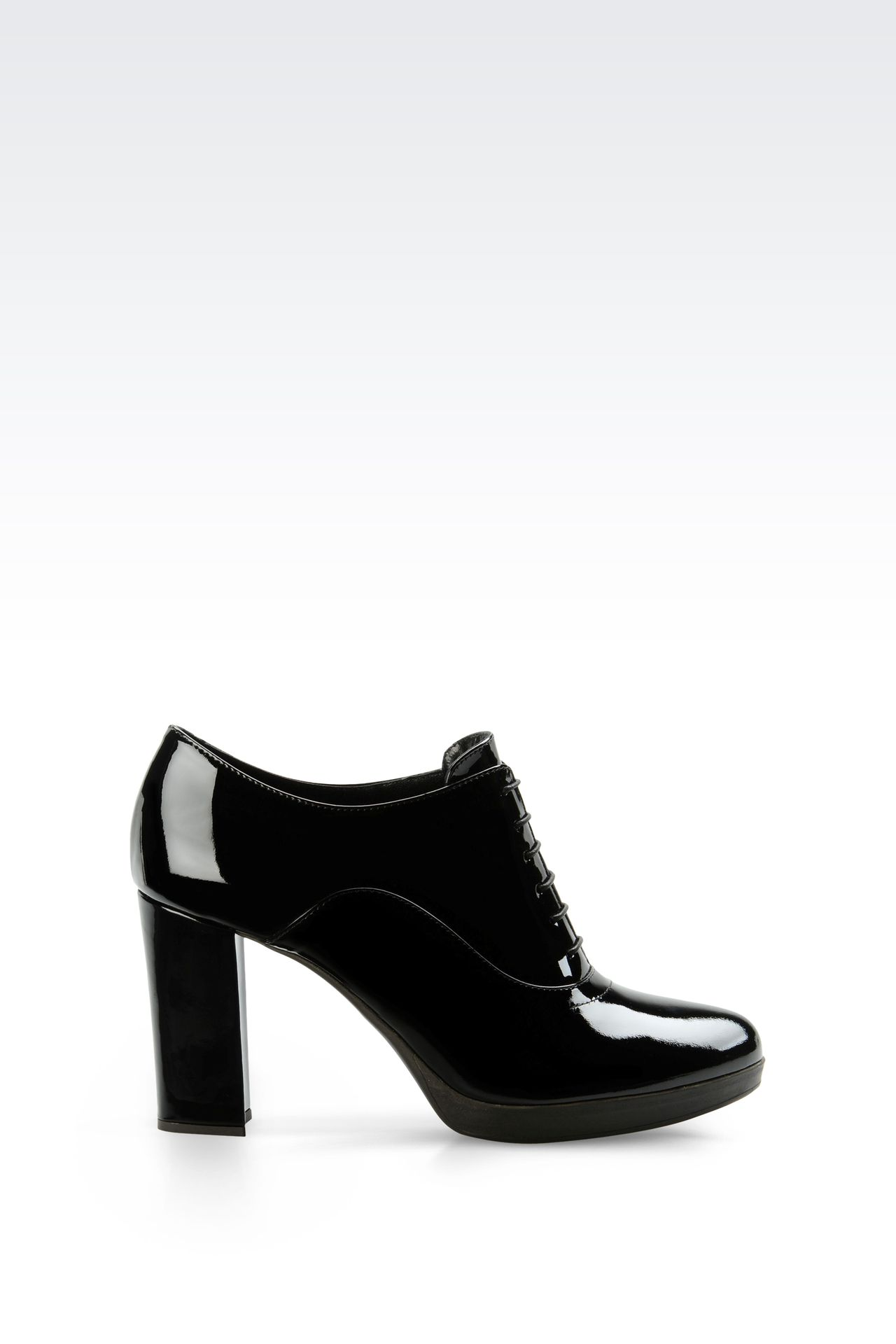 LEATHER OXFORD WITH PATENT EFFECT: Lace-up shoes Women by Armani - 0